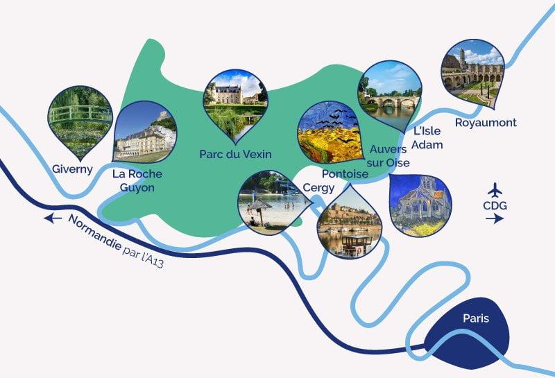 Lieux touristiques Cergy-Pontoise Vexin